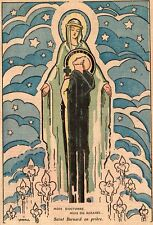 RELIGION SAINT BERNARD EN PRIERE VIERGE MARIE MOIS ROSAIRE IMAGE 1936  PRINT