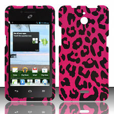 For Huawei H881C ACE Rubberized HARD Case Phone Cover Hot Pink Leopard