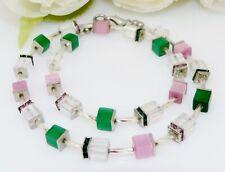 Würfelkette Halskette Würfel Cat Eye Glas Strass smaragd rosa grün 288g