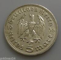Drittes Reich 5 Reichsmark Silbermünze 1936 D - Hindenburg