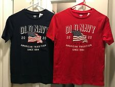 Boys Old Navy Flag Shirt 2020, Red, Navy Blue, Youth Size L, XL NWT!