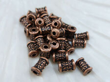 25 x Flower Tube Column Spacer Beads 6.5mm x 5mm Antique Red Copper LF (MBX0092)