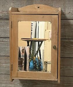 antique vintage provincial country pine bathroom cabinet cupboard with mirrored