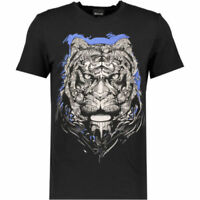JUST CAVALLI Men's Black and Blue Tiger Print T-Shirt - size Medium - rrp £100