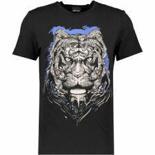37e10e71 JUST CAVALLI Men's Black and Blue Tiger Print T-Shirt - size Medium - rrp