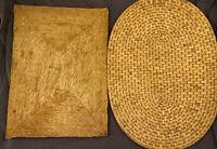 Vintage MCM Woven Wicker Straw Trivet Hot Pad Rattan Raffia Lot of 2