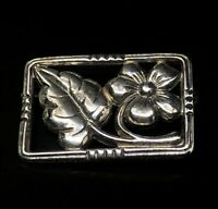 Vintage Sterling Silver Brooch Pin 925 Signed Flower Bar
