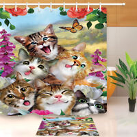 Cute Funny Cats Shower Curtain Liner Waterproof Fabric Bathroom Decor Mat Hooks