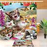 Cute Funny Cats Shower Curtain Liner Waterproof Fabric Bathroom Decor Mat Hooks