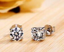 1Ct Diamante, redondo Excelente Corte Diamante Pendientes, Platino caracteriza, LUJO!