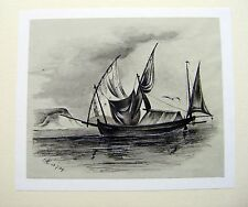 MARITIME A SAILING VESSEL ON A LAKE L.C. INK 1839