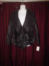 LADIES/WOMENS (JACLYN SMITH) BLACK FAUX FUR-FAUX LEATHER JACKET/COAT SZ. S (NEW)