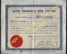 1934 certificado de acciones David Thomson & Sons, Ltd 300 X 1 € - comparte