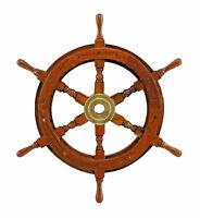 Ship Wheel Solid Wood and Brass Captain Boats Yachts Marina Sea Compass Ships