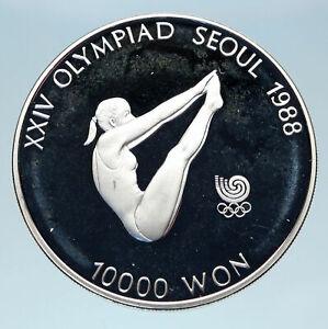 1988 SOUTH KOREA Seoul OLYMPIC GAMES Girl Gymnast Proof Silver 10K W Coin i83111