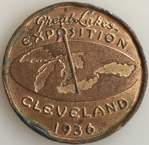 1936 Great Lakes Exposition Cleveland Ohio Lucky Penny Medal 55mm LOOK!@@!