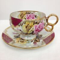Vtg Roses Pattern Gold Trim Footed Teacup Saucer Lusterware Del Coronado Japan