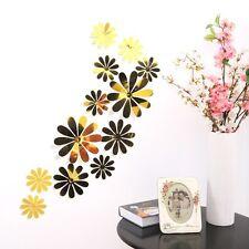 12 un. 3d Espejo Adhesivo Calcomanía Pared Nevera Flores Pegatina Decoración de pared