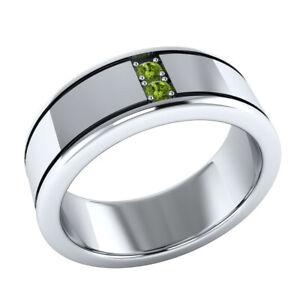 0.10 Ct Round 2-Stone Green Peridot Mens Anniversary Ring Band 14k White Gold GP