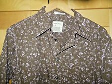 Indian Terrain Men's Long Sleeve Brown & Pink Floral Button Front Shirt L