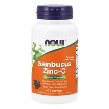 Now Foods Sambucus Zinc-C - 60 Lozenges FRESH, FREE SHIPPING, MADE IN USA