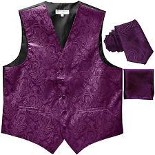"New Men's Formal Vest Tuxedo Waistcoat_2.5"" necktie set paisley wedding Purple"
