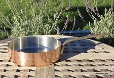 """Queen Anne Copper 8"""" Saute Pan w/Stainless Steel interior, 1.7 mm Made in France"""