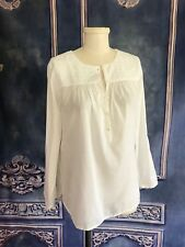 J Crew White Embroidered Buttoned Top Gypsy Blouson Top SZ 6 Cotton 3/4 Sleeve