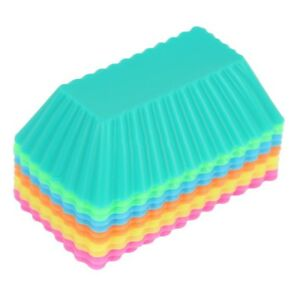 6X Silicone Muffin Case Rectangle Cake Liner Cupcake Chocolate Cups Baking UK