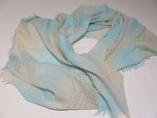 WAREHOUSE PRETTY 4 WINTER ICE BLUE & CREAM WOVEN WEAVE LONG WIDE SHAWL SCARF