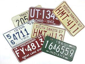 License Plates Grab Bag Lot of 7  Vintage 60's Man Cave Gift Garage Decor Gift