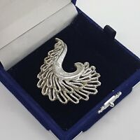 VINTAGE Swirl Brooch Silver Tone Textured Abstract Mid-Century