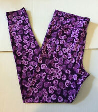 LuLaRoe BNWOT TC Leggings Purple Floral RARE VINTAGE UNICORN!