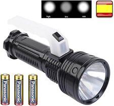 Linterna de Mano con luz LED 500W Lampara camping Vigilancia + 3 PILAS PANASONIC