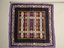 "foulard vintage da collo ""strangolino"" 100% pura SETA tartan lilla blu 52x52 cm"