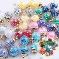 Glass Ball Pendants Confetti Making Charms 20Pcs Round Transparent DIY Jewelry