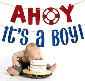 Ahoy Its A Boy Banner Sign Nautical for Baby Shower Baby Boy Wheel Party Decor