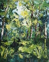 Original abstract forest scene by Leigh Elks acrylic canvas board.