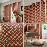 Orange Cotswold Soft Geometric Retro Lined Eyelet Top Ring Top Curtains Pair