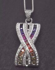 925 Sterling Silver A Deco MultiColor Rainbow Princess Sapphire Pendant Necklace