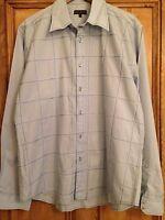 BLUE INC Blue Shirt Long Sleeve Grid Design Men's Size XL <L275