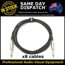 "8x 2M Electric Guitar Cable Cord Noiseless 1/4"" Jack Instrument Lead 2 Metre"