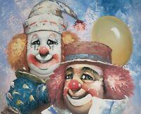 Signed William Moninet Original Oil Painting Circus Clowns Vintage Listed Artist