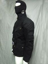 WAXED COTTON MOTORCYCLE BIKER JACKET BLACK WP LINED BODY ARMOR LARGE L SHIP ASAP
