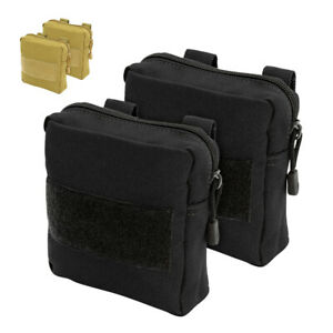Side Bags for Dog Tactical Harness 2pcs Pouches K9 Training Detachable Black Tan