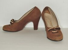 1940's Vintage WW2 Era  Florsheim Brown Suede Shoes / Pumps / Heels sz 7 aa