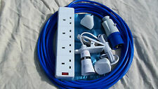 10m CAMPING ELECTRIC HOOK UP WITH  CLIP ON LIGHT AND NIGHT LIGHT BLUE