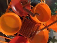 Vintage 1972 Mattel Barbie Camp Out Pots Pan Plates Slipping Bags Fire Pit Lot