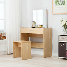 Vanity Rectangle Wooden Dressing Table Stool Set Mirror Desk With 1 Drawer Oak