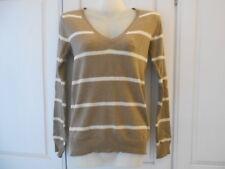 Atmosphere (Primark) Taupe Brown/Cream Striped Deep V Neck Fine Knit Jumper - 10